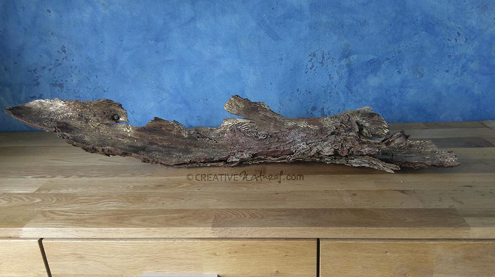 Buchdrucker-Story 1, Tisch-Objekt auf Naturstein, ca. 80 cm lang, 20 cm breit, 20 cm hoch