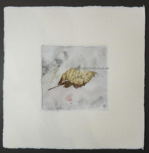 """Fragil"", Draufsicht, von Sandra Egert, Close-up-Serie, Naturobjekt auf Aquarell, L 10 x B 10 cm , H 3 cm, in Büttenpassepartout weiß, B 20 x L 20 cm, auf Passpartoutkarton dunkelgrau"