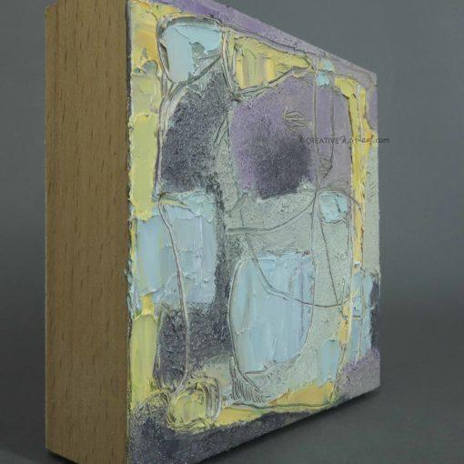 """Focusobjekt """"Gedankengarten"""", Seitenansicht, Original Ölmalerei beidseitig bemalt, 10 x 10 x 3 cm, auf massivem Buchenholz, freistehend"""