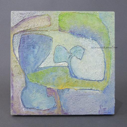 "Focusobjekt ""Gedankengarten 1"", Draufsicht, Original Ölmalerei beidseitig bemalt"