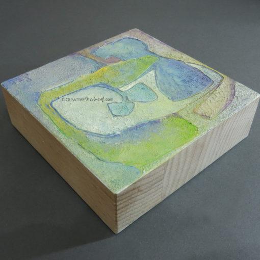 """Focusobjekt """"Gedankengarten1"""", Ansicht 3, Original Ölmalerei beidseitig bemalt, 10 x 10 x 3 cm, auf massivem Buchenholz, freistehend"""