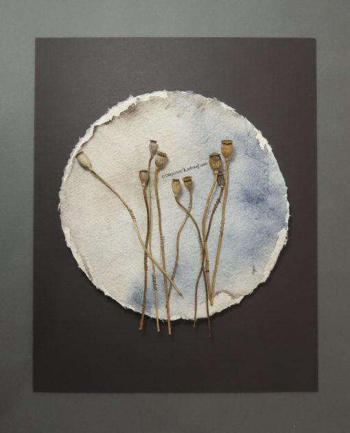 """""""Moohnd"""", Draufsicht, von Sandra Egert, Close-up-Serie, Wandobjekt auf handgeschöpftem Papier, Ø 19cm H 3 cm, aufgezogen auf Passepartoutkarton B 24 x L 30 cm"""