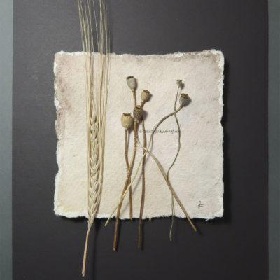 """Remembering Life"", Draufsicht, von Sandra Egert, Close-up-Serie, Wandobjekt auf handgeschöpftem Papier, L 15 x B 15cm , H 3 cm, aufgezogen auf Passepartoutkarton W 24 x L 30 cm"
