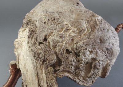 """Wildholzobjekt """"Unfold"""", Ansicht 1 L 55 cm x B 37 cm x H 23 cm, Maserknolle unbekannter Holzart, Ast, Kupferdraht"""
