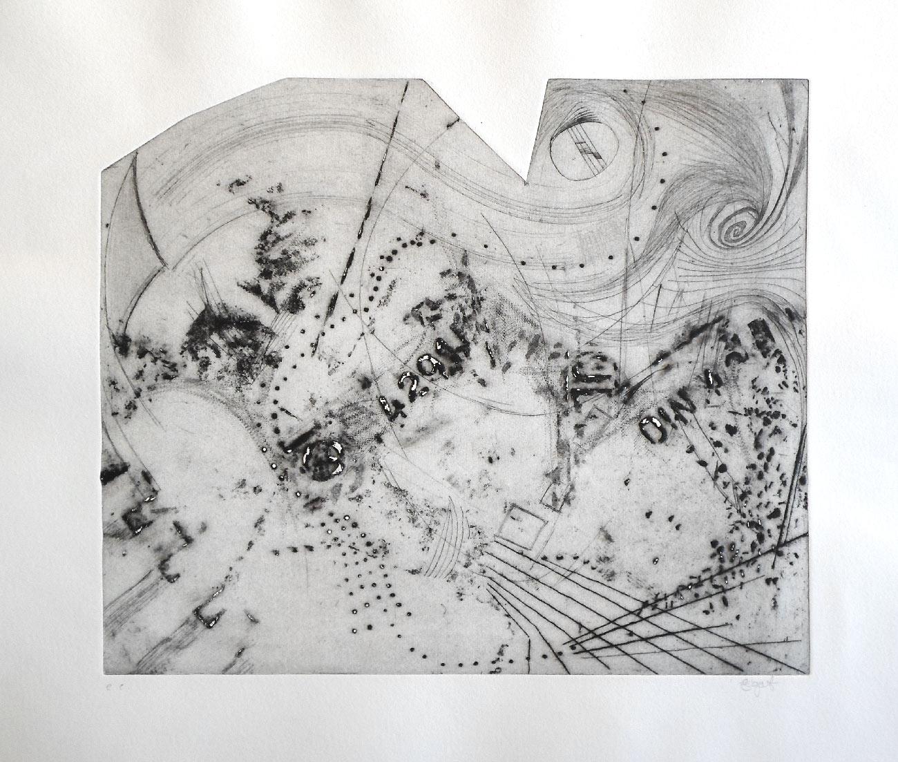 Windwirbel, Kaltnadel-Radierung
